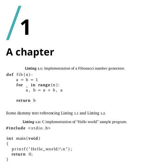 code listings · uit-thesis